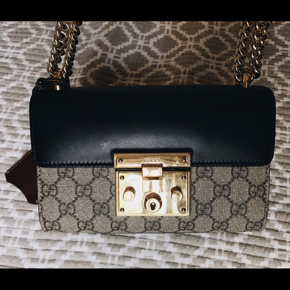 c628ee2781f4 Gucci Handbags - Gucci Small Padlock GG Canvas and Leather Bag